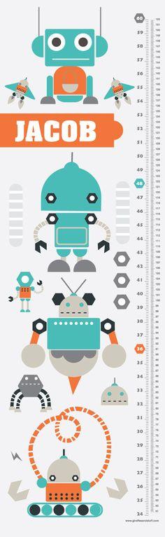 Childrens Custom Growth Chart Robots by giraffesnstuff on Etsy