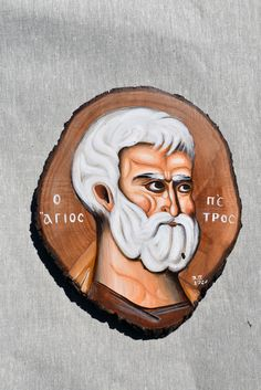 Saint Peter hand painted icon on walnut wood slice. Dimensions 20 x 15 x cm Paint Icon, Byzantine Icons, Orthodox Icons, Place Of Worship, Walnut Wood, Happy Shopping, Saints, Handmade Items, Presents