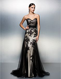 A-line Sweetheart Sweep/Brush Train Tulle Evening Dress (179... – USD $ 130.00