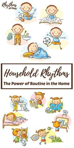Establishing consistent household routines can help you care for your children, manage your household, and get things done! We've got some tips & tricks to help you create some family rhythms that will benefit everyone! Activities For 2 Year Olds, Creative Activities For Kids, Creative Kids, Learning Activities, Parenting Toddlers, Parenting Hacks, Teaching Kids, Kids Learning, Strong Family