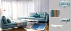 IKEA Sofá - Combinación de sofá y chaise longue SÖDERHAMN con funda Isefall turquesa claro y alfombra MALIN FIGUR turquesa