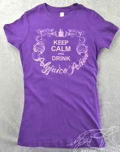 Harry Potter Women's Shirt Keep Calm & Drink Polyjuice Potion Purple Ringspun Cotton with Heliotrope Color Ink