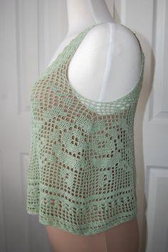 Crochet Top Rose Filet in Zen Green Bamboo Size by LoyesThread, $52.00