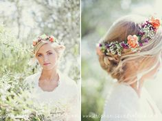 Utah wedding photography. River side bridal session. Flower halo. Stephanie Sunderland Photography.