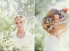 Utah wedding photography. River side bridal session. Flower halo. Stephanie Sunderland Photography.
