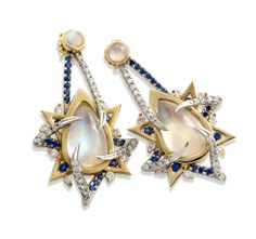 Earrings in 18k yellow and white with moonstones, sapphires, and diamonds, by Belinda Vartenuk of Abshire & Haylan
