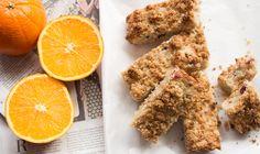 Barras de granola, arándanos y naranja