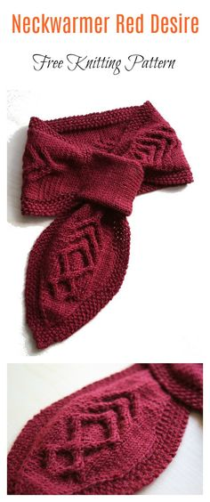 Keyhole Scarves and Shawl Knitting Patterns Neckwarmer Red Desire Scarf Free Knitting PatternNeckwarmer Red Desire Scarf Free Knitting Pattern Double Knitting Patterns, Baby Hat Knitting Pattern, Lace Knitting, Knitting Needles, Crochet Scarves, Crochet Yarn, Crochet Stitches, Crochet Mandala, Crochet Afghans