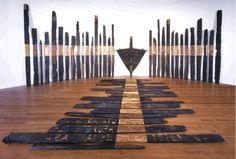 This is a large art installation titled 'Black phoenix', created by NZ artist Ralph Hotere in Nz Art, Art For Art Sake, Maori Patterns, Maori Designs, New Zealand Art, Maori Art, Environmental Art, Conceptual Art, Installation Art
