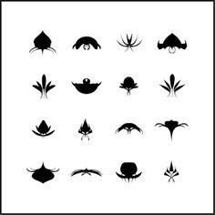 Motifs abstraits sur fond noir pour tatouage (poésie, tache, imagination, abstraction, hasard)