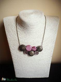 Bronze button necklace