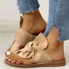 [£ Women's Suede Flat Heel Sandals Peep Toe Slippers With Bowknot shoes - VeryVoga Nude Slippers, Summer Slippers, Lace Up Sandals, Flat Sandals, Trendy Sandals, Women Sandals, Fashion Sandals, Cute Shoes, Womens Flats