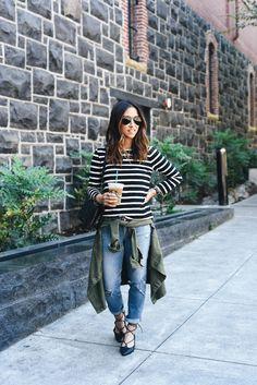 striped tee, utility jacket, boyfriend jeans, black flats