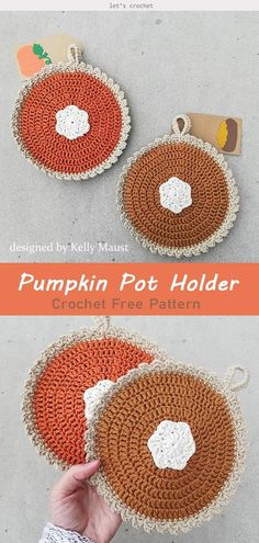 20+ Awesome Crochet Things With Free Patterns Holiday Crochet Patterns, Crochet Pumpkin Pattern, Crochet Potholder Patterns, Crochet Dishcloths, Crochet Fall Decor, Autumn Crochet, Crocheting Patterns, Crochet Gifts, Free Crochet