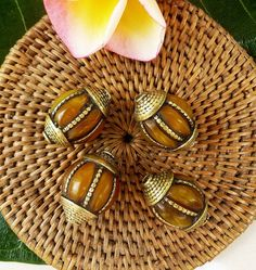 Four Tibetan Brass Beads by SmallWorldofTreasure on Etsy,