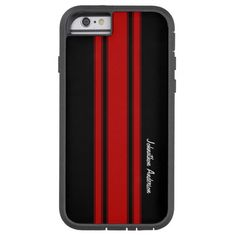 Modern Red And Black Racing Stripes With Name Tough Xtreme iPhone 6 Case