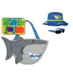 fedfc8dcc27 Stephen Joseph Shark Beach Tote Bag with Shark Bucket Hat... https
