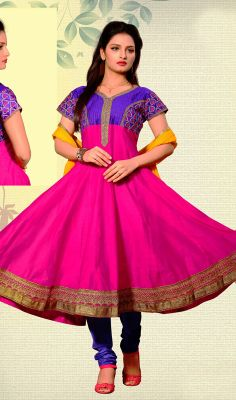 Pink and blue Kora Silk Anarkali Dress Flaunt your feminine side with this with this pink and blue kora silk Anarkali dress. It is uniquely crafted with kasab and resham work.  #SilkDesingerAnarkaliDress #PartyWearEveningSalwarSuits