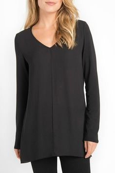 The soft hand of model fabric is created into this great V-neck tunic. Soft sheer fabric makes a fun flounce in the back    V-Neck Flounce Tunic by Lyssé. Clothing - Tops - Tunics Saratoga, Wyoming