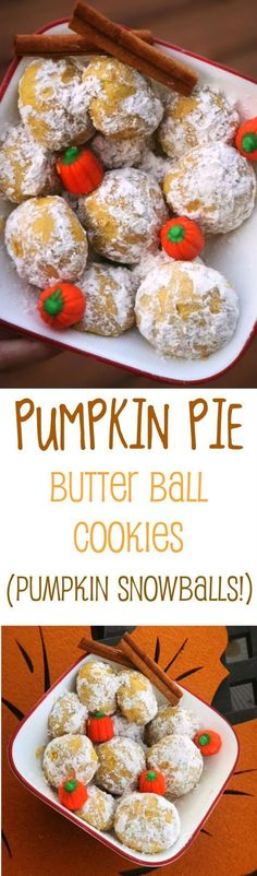 Best recipe for easy pumpkin pie snowball cookies! Amazing pumpkin butter ball cookies. Easy fall recipe! Best pumpkin powdered sugar teas cookies