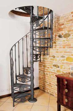 Spiral wrought iron & brick