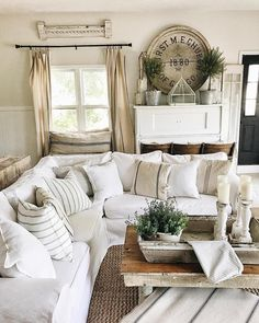 We love the relaxed, slipcovers with french linen pillows. Overall, a very soothing room.