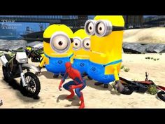 Minions Meets Superheroes Spiderman, Batman, and Lighning McQueen Fun in...