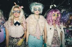 Colorful wigs, faux fur, lace and bedazzled glasses