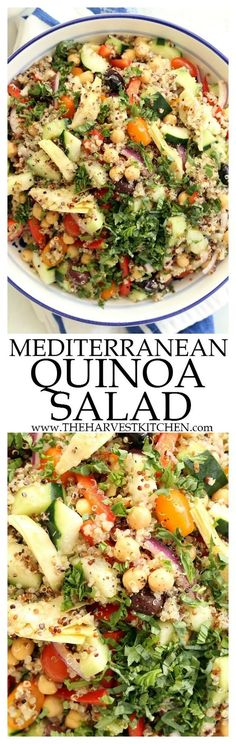 This crowd-pleasing Mediterranean Quinoa Salad is loaded with quinoa, cucumbers, tomatoes, purple onion, red bell peppers, kalamata olives and lots of fresh basil. It makes a delicious light lunch or side salad to serve at barbecues and potlucks.   healthy recipes     clean eating     quinoa salad recipes     gluten free     vegetarian  