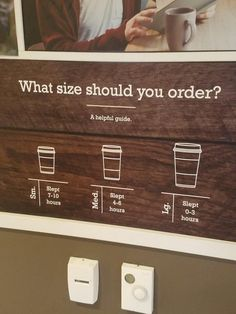 This coffee shop recommends different sized cups depending on how much people slept the night before: 21 Genius Coffee Shops That Are Lightyears Ahead Of Everybody Else Coffee served in cups made from recycled coffee — how meta is that? Coffee Shop Signs, Coffee Shop Menu, Coffee Shop Business, Coffee Cafe, Coffee Humor, Coffee Quotes, Coffee Shops Ideas, Coffee Shop Counter, Vintage Coffee Shops