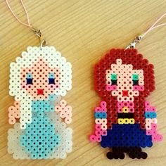 Elsa and Anna Frozen perler beads by jollyjhedie
