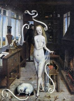 Anonymous Flemish painter - Preparation of a Love Charm by a Youthful Witch. 1470-80 surreal