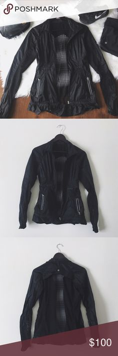 •Lululemon Black Mesh Back Windbreaker Jacket• Lululemon black mesh back windbreaker jacket. Very feminine and perfect for running on a windy day. Super rare item. It's in excellent condition! I've only worn it one time for about 2 hours. Price reflects condition.   •size 4 •mesh back jacket  •mesh detail throughout arms and armpit •excellent condition   •No trades(comments will politely be ignored). •15% off 2+ items  lululemon athletica Jackets & Coats