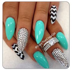 Tiffany Blue stiletto nails w/ black n white chevron and rhinestones!!!!!