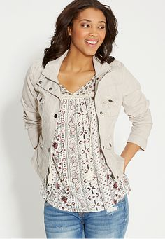 cropped linen jacket (original price, $44) available at #Maurices