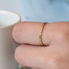 Römische Ziffer Gold Ring-dünnen Ring 14K von HANDMADESILVERWORKS