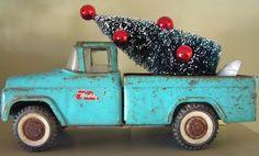 vintage aqua toy truck with bottle brush tree