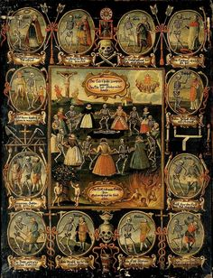 A German painting of the Danse Macabre. Nine women of different social rank from empress to fool dance with the dead. The entire economy of salvation is depicted, from the Fall, through the crucifixion, to Heaven and Hell. Twelve more traditional Dance Macabre figures, from pope and emperor down to fool, surround the central image.