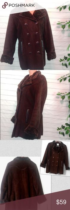"""Sonoma Life + Style Faux Suede & Fur Peacoat Excellent Condition! Practically never worn. Sonoma coffee brown faux suede and fur double breasted peacoat. Fully fur lined.  Absolutely gorgeous! Size Large.  Bust is 22"""" across, laying flat and buttoned.  See last pic for fabric content.                                             🔹Please ask all your questions before you purchase! I am happy to help! 🔹Sorry, no trades or holds. 🔹Please, no lowball offers 🔹Please use Offer Button! 🔹Bundle…"""