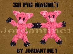 New 3D Pig / Piglet Magnet Figure / Charm - Rainbow Loom