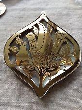 Set Oneida Silver & Gold tone Metal Christmas Teardrop Ornaments Beautiful
