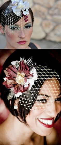 Birdcage veil with colorful flowers... I might adapt this
