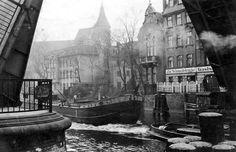 historisches Foto s/w Leinwand Königsberg Ostpreußen , Schmiedebrücke - 1938