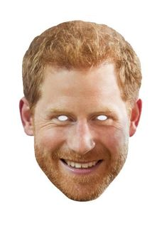 Prince Harry with Beard Royal Single Card Party Face Mask.