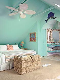 Tropical Master Bedroom, Key West Decor, Aqua Walls, Coastal Living Magazine, Beach Cottage Style, Beach House, Beach Condo, Key West Style, West Home