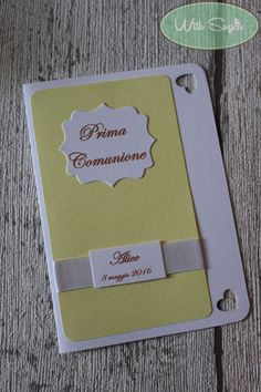 Invito per Prima Comunione - Handmade Card Diy Cards, Communion, Card Ideas, Marketing, Daily Journal, Homemade Cards, Make A Map, Home Made, Handmade Cards