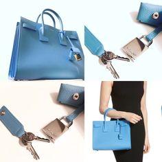Yves Saint Laurent YSL Baby Sac de Jour Leather Tote Shoulder Bag Bleu Clair   eBay