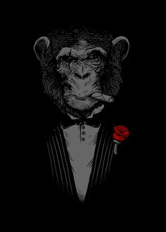 """Monkey Business Art Print    click to zoom  Monkey Business    by Alex Solis  Art Print / MINI (8"""" X 10"""")    $17.68        * Size    Add to Cart    Fine art print on bright white, matte, ultra smooth, 100% cotton rag, acid and lignin free archival paper using an advanced digital dry ink method to ensure vibrant image quality. Custom trimmed with 1"""" border for framing.  reference to one of the classics the GodFather :D    IllustrationAnimalsBlack & White        *        73Promote      *"""