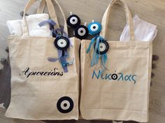 nona bags!! Baby Staff, Evil Eye, Easter Crafts, Paper Shopping Bag, Reusable Tote Bags, Baptism Ideas, Hamsa, Handmade, Giveaway
