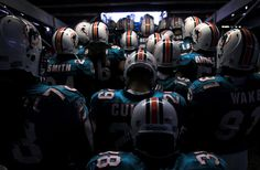 Miami Dolphins in the tunnel pre-game.